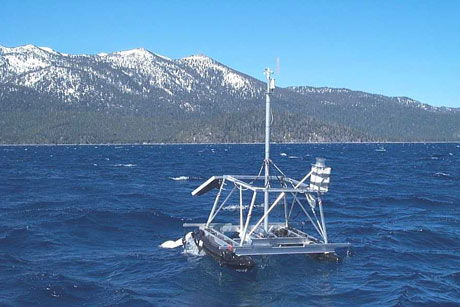 A weather station floating in Lake Tahoe